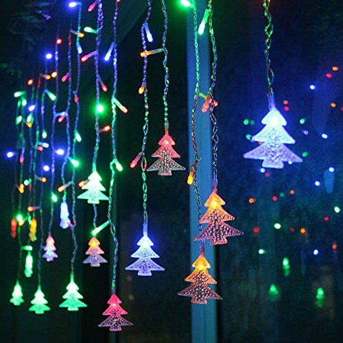 LIANGSM 3.5M 96 LED Fairy Lights Curtain Icicle Starry String Lights for Bedroom Christmas New Year Home Garden Wedding