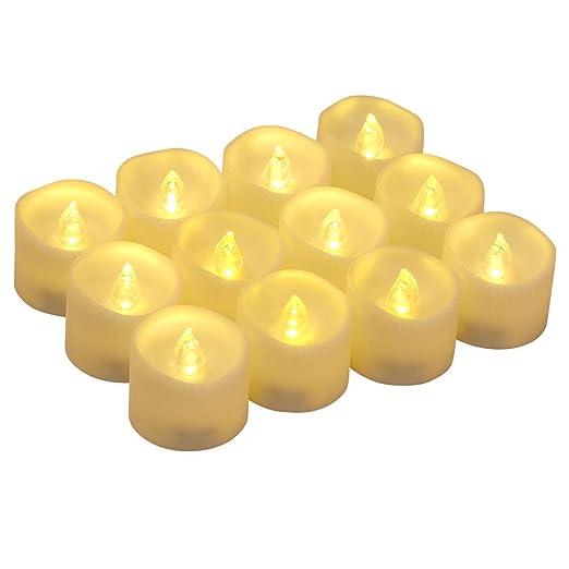 flintronic 12 Velas Led Pequeñas, Velas Led de Té Velas Eléctricas con Baterías para San Valentín, Cumpleaños, Fiestas, Navidad, Festivales, Bodas ...