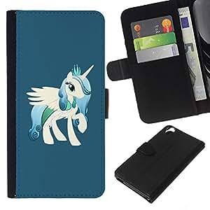 """Be-Star la tarjeta de Cr¨¦dito Slots PU Funda de cuero Monedero caso cubierta de piel Para HTC Desire 820 ( Unicornio White Pony Caballo Dibujo de la historieta"""" )"""