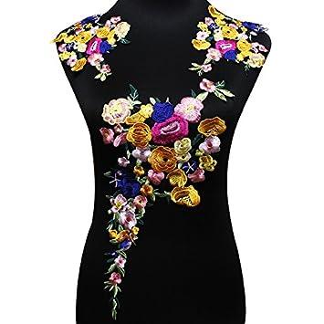 Juego de parches florales bordados para hacer manualidades, accesorios, apliques, decoraciones, etc.: Amazon.es: Hogar