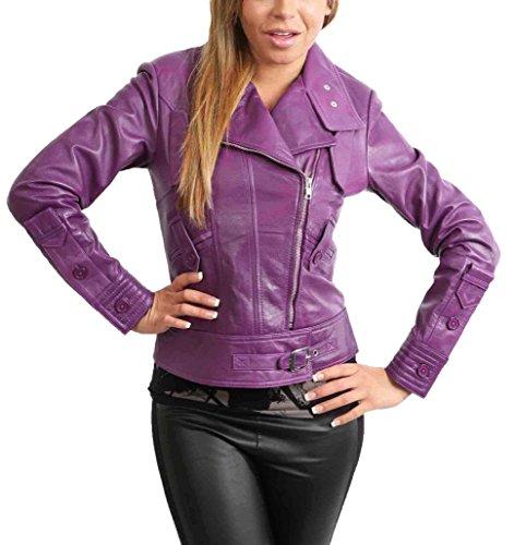 Gamme Violet Veste Couleurs Éclair Cuir Pour Ajusté Véritable De Dans Lyla En Femme Manteau Fermeture Motard La Créateur xpxHA1q6