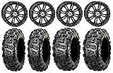 Bundle - 9 Items: STI HD3 14'' Wheels Black 26'' Abuzz Tires [4x110 Bolt Pattern 10mmx1.25 Lug Kit]