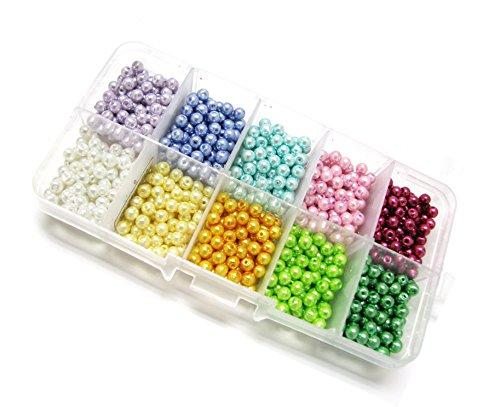 Linpeng Pearl Jewelry Making DIY Beads Set 4 mm Rainbow