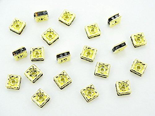jennysun2010 Czech Crystal Rhinestone Gold Plated 8mm Jet Black Squaredelle Spacer Beads 100pcs per Bag for Bracelet Necklace Earrings Jewelry Making Crafts Design Squaredelle Jet