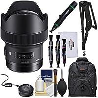 Sigma 14mm f/1.8 ART DG HSM Lens with USB Dock + Backpack + Sling Strap + Kit for Canon EOS Digital SLR Cameras