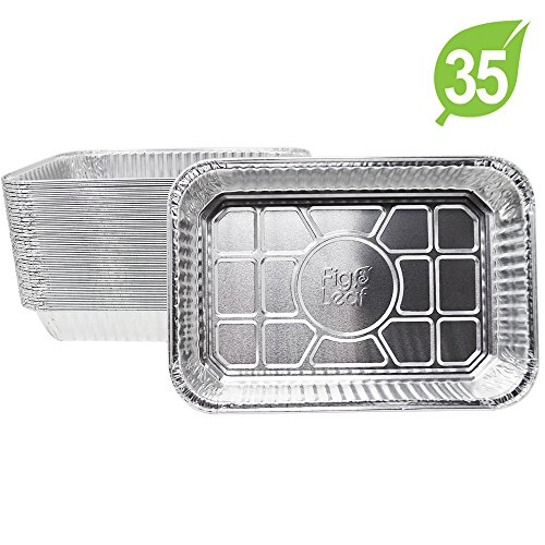 "(35 Pack) Disposable Aluminum Drip Pans Model 6415 Weber Compatible Foils l Small Size 7.5"" x 5"" x 1.7"