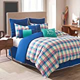 Southern Tide Prep School Plaid Duvet Cover Tein 100% Cotton Multi Color