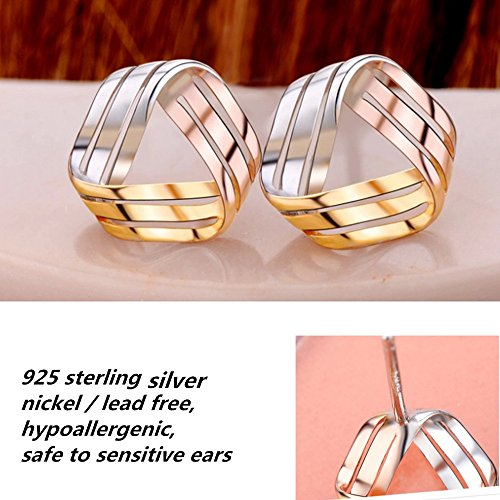 925 Sterling Silver Love Knot Earrings Tricolor 3-Tone Stud Fashion Jewelry for Teens Girls Women by ZLXPRO (Image #4)