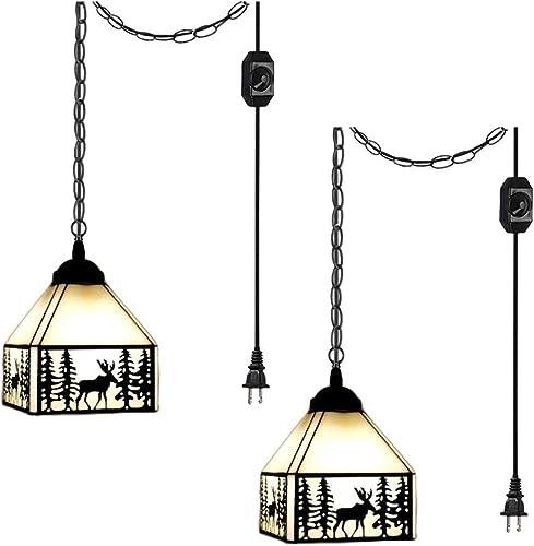 ANYE 2-Lights Tiffany Retro Lighting Deer Shadow Art Handmade Glass Shade Iron Chain Lighting 20ft UL Dimmable Switch Cord Chandelier Bulb Not Included
