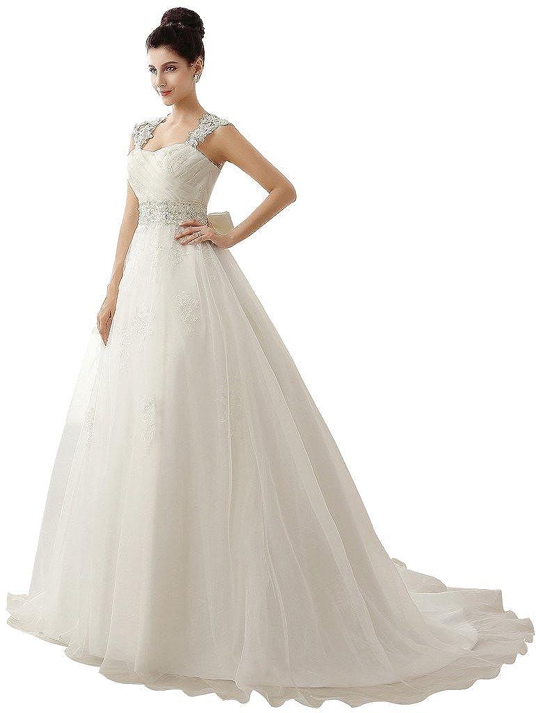 Edith Qi Womens Lace Strap Sleeveless Open Back Bridal Wedding