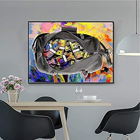 WEDSA Home Painting Canvas Painting Gold Standard Modern/Pop Culture Money Style Street Art Canvas para decoración del hogar Póster de Arte de Pared 60x40cm Sin Marco