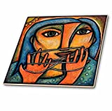 3dRose ct_21125_4 Cats Cradle Woman String Abstract Figure Colorful-Ceramic Tile, 12-Inch