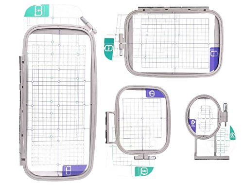 Embroidery Machine Hoop SET w/ Placement Grids for Brother PE-750D, PE-770, PE-780D, Innovis 1250D, PC-6500, PC-8200, PC-8500 And Babylock Ellure, Emore and Esante ()