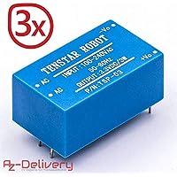 AZDelivery ⭐⭐⭐⭐⭐ 3 x Mini Trasformatore Adattatore 220V a 3,3V per Arduino e Raspberry Pi con eBook Gratuito!