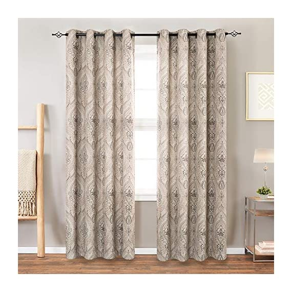"Medallion Linen Textured Curtains for Living Room 84 Inch Length Drapes Damask Pattern Flax Draperies Window Treatments Room Darkening Sliding Glass Doors for Bedroom Curtain Panels 1 Pair Taupe - 【Simple Design】 Package includes 2 Damask Printed Light Filtering Curtains. Each measures 50""width by 84"" length. 【Style Fashion】Flaunting a large damask print in vivid colors, this beautiful panel pair creates a striking contrast, for a stylish and eye-catching look. 【Light Reducing】Room darkening fabric reduce up to 50% of sunlight, letting you enjoy a serene and comfortable internal environment during any time. - living-room-soft-furnishings, living-room, draperies-curtains-shades - 51LU5Q2OozL. SS570  -"
