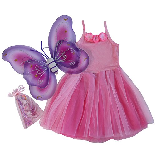 [Girls Pink Flower Fairy Dress, Wings and Princess Favor Bag Gift Set] (Fairy Dress For Kids)