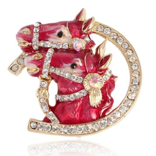 EVER FAITH® Cristal Autrichien Enamel Deux Tête de Cheval Broche - Red-Ton d'Or N03303-1