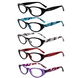 LianSan 5 Pairs Ladies' Vintage Cat Eye Readers Quality Reading Glasses for Women L3720(+1.00)