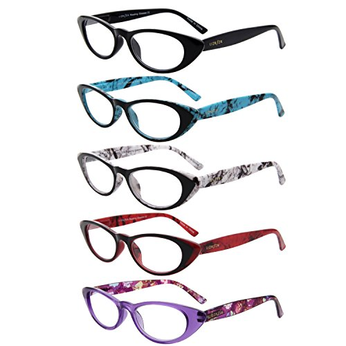 LianSan 5 Pairs Ladies' Vintage Cat Eye Readers Quality Reading Glasses for Women - Readers Eye Cat
