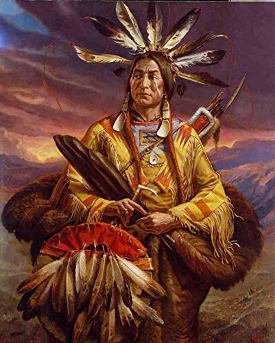 (QHQ Diy 5d Diamond Painting By Number Kit, Native American/Indian For Wall Decoration, Bedroom Decoration Painting (12 * 16 inches))