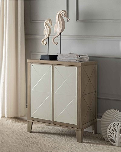 Kings Brand Antique White Entryway Buffet Console Sofa Table, Mirrored Doors Review