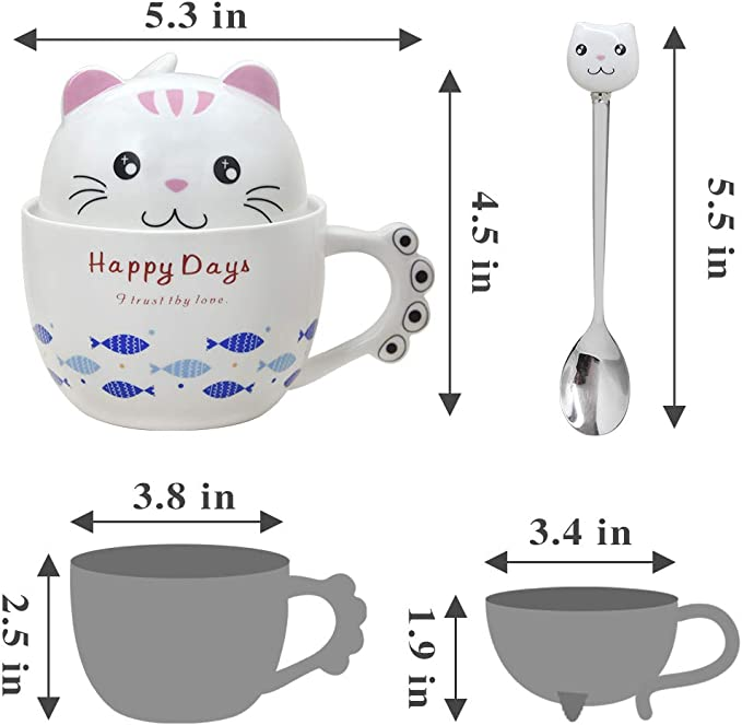11oz Notrefly Cat Mug with Lid and Lovely Stainless Steel Spoon ,Ceramic Funny Cat Face Coffee Mug Novelty Cat Tea Cup Gift for Crazy Cat Lady Lovers Women and Girls