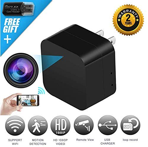 2 in 1 Spy Camera Wifi Wireless Hidden Cam With Audio and USB Charger - iREMARK 1080P HD Mini Security Surveillance Camera - Live View Covert Nanny Cam - Motion Activated - No Lags/No Frozen Streaming (Frozen Video Cam)