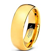 Tungsten Wedding Band Ring 7mm for Men Women Comfort Fit 18K Yellow Gold Plated Domed Polished