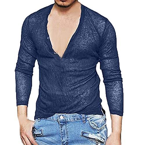 iLXHD Men Sexy Solid Color Deep V-Neck Long Sleeve Slim T Shirt Basic Blouse (Navy,2XL)