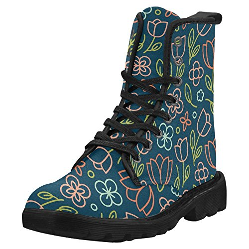 InterestPrint Women's Boots Unique Designed Comfort Lace up Boots - stylishcombatboots.com