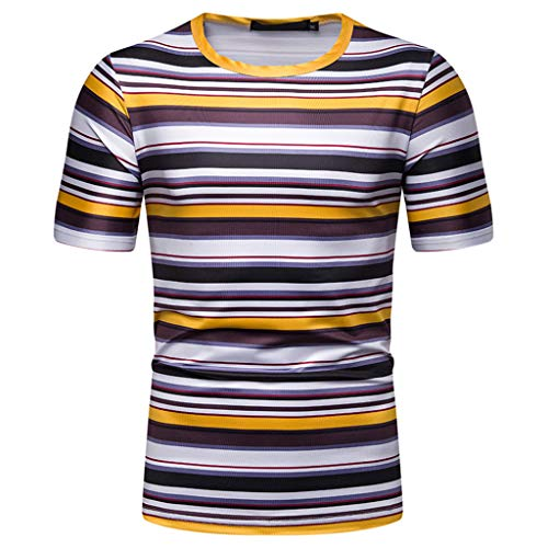 Stripe Hoodie Tops Tees (Men's Summer Clothing Outfits Personality Leisure Short Sleeve Stripe Painting Large Size Casual Top Blouse Shorts)