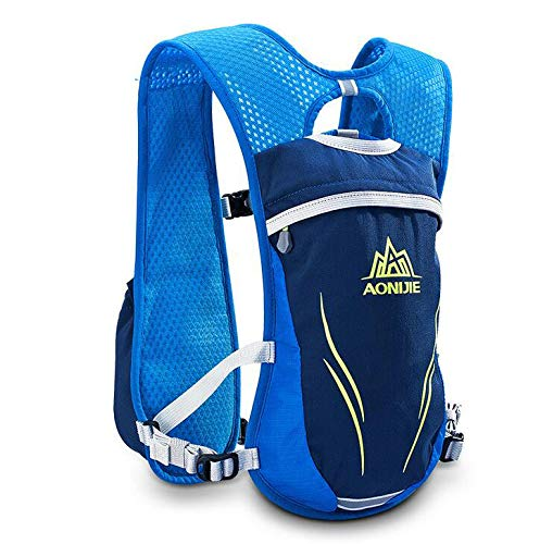 POJNGSN Hydration Nylon 5.5L Outdoor Running Bags Hiking Vest Cycling Backpack Blue 1 by POJNGSN (Image #3)