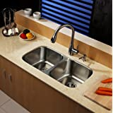 "Kraus KBU22-KPF2130-SD20 32"" Undermount Double Bowl Stainless Steel Kitchen Sink with Kitchen Faucet and Soap Dispenser"