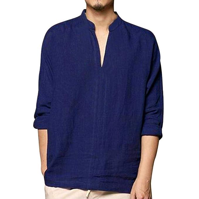 STRIR Camisa Hombre Blusa Suelta Casual Transpirable Top de Manga Large Camisas algodón de Lino Sin Cuello de Color Sólido Blusas de Trabajo: Amazon.es: ...