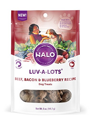 - Halo Luv-A-Lots Grain Free Natural Crunchy Dog Treats, Beef, Bacon & Blueberry Recipe, 5-Ounce Bag