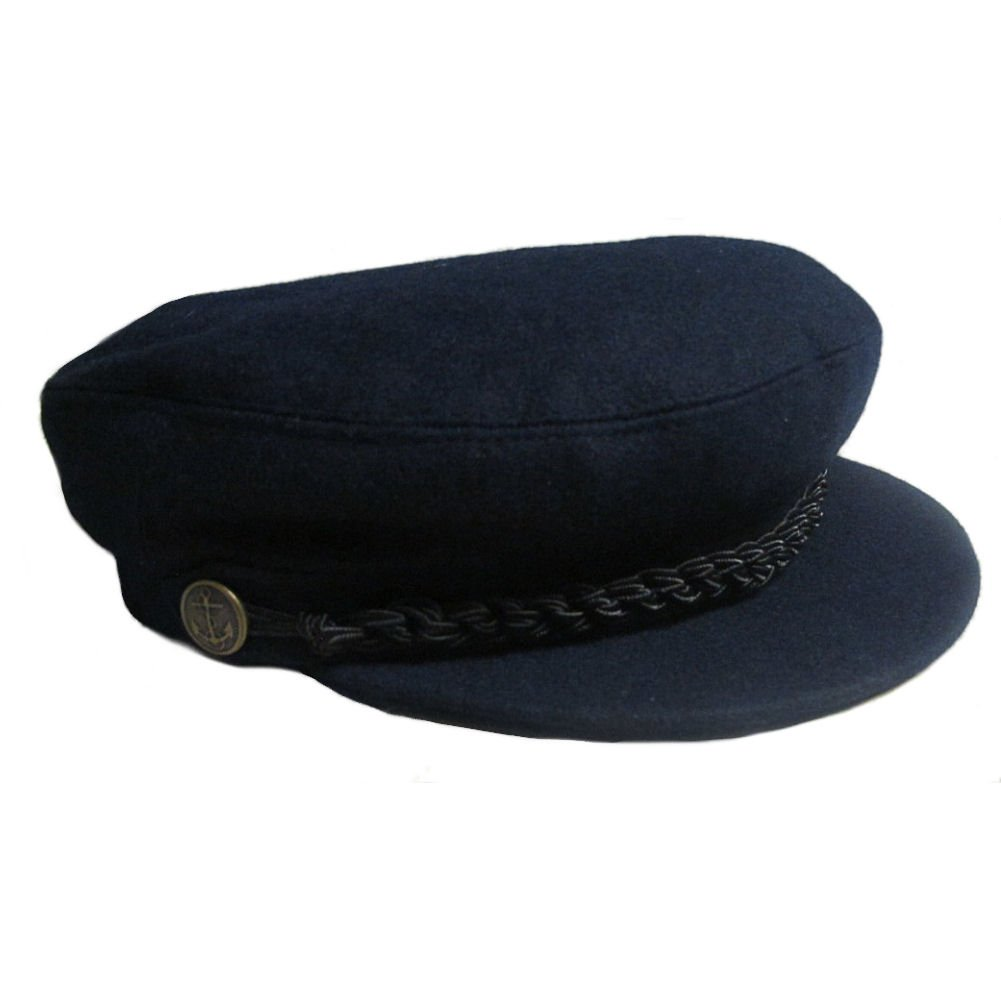 Denton Barge Cap. Breton Wool Retro Beatles Style Navy & Black