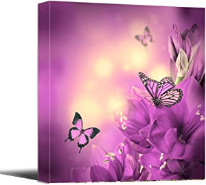"Canvas Wall Art - Butterfly with Pink Flowers Animal Paintings Print - 12"" x 12"" Modern Canvas Print Artwork Stretched and Framed for Home Office Decor Ready to Hang"