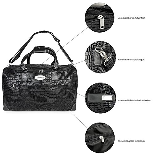 Taschen SET: Oramics Reisetaschen für Paare 1 Gepäcktasche 40l schwarz in Croco Optik und 1 Trolley Reisetasche 77l blau