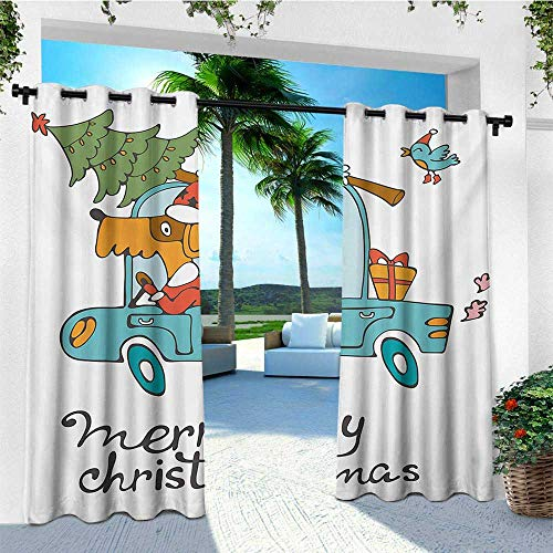 leinuoyi Christmas, Outdoor Curtain Waterproof, Blue Vintage Car
