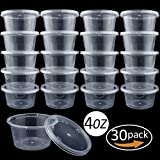 4 ounce container with lid - 30 Pack Big Size Clear Slime Foam Ball Big Storage Containers with Lids