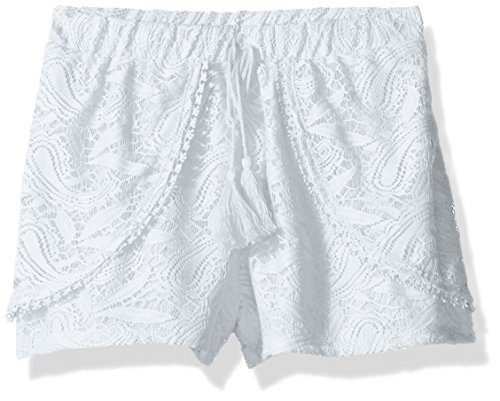Amy Byer Girls' Big Tulip Lace Short, White, XL ()