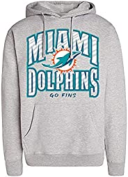 NFL Miami Dolphins Unisex Team Color Hoodie with Zebra Slogan Graphic, Heather Gray, Large
