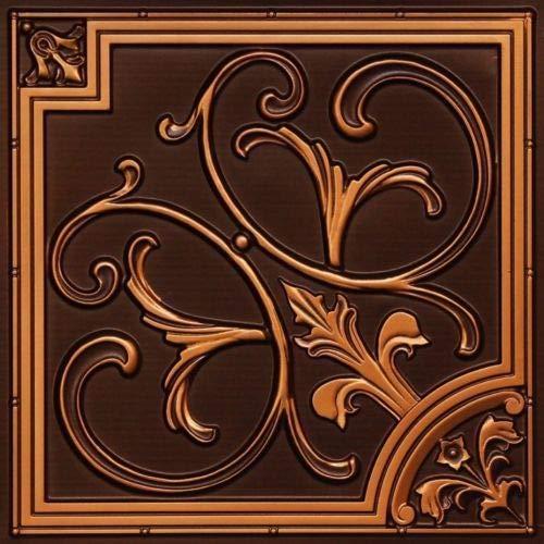 # 204 - Antique Copper 2' x 2' PVC Faux Tin Decorative Ceiling Tile Panels Glue Up/Grid ()