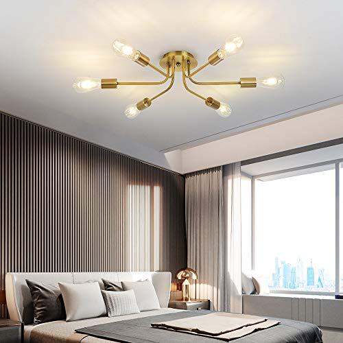Sputnik Chandelier Flush Mount Ceiling Light Brushed Brass Finish Mid Century Modern Pendant Lighting 6 Lights for Foyer Dining Room Bedroom Restaurant