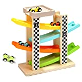 OWIKAR Gliding Cars Race Track Playset, Wooden Ramp Race Track with 4 Levels Mega Ramp Car Switchback Slider Ladder Toddlers Toys for Kids 2 Year Old and Up