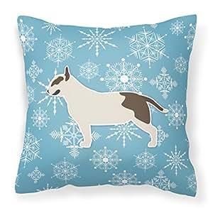 """Caroline tesoros del bb3578pw1818invierno copo de nieve Bull Terrier decorativo almohada, 18""""x 18, multicolor"""
