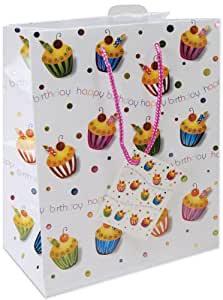 Cindus Foil Gift Bags, 10-1/2 by 5-3/8 by 13-Inch, Birthday Cupcake