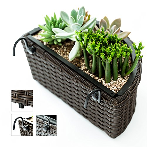 C-Hopetree Freestanding Decorative Wicker Container for Patio Indoor Outdoor, Succulent Planter, Wall Hanging, Table, Brown Woven, Half Round Plastic Pot Woven Wicker Frame