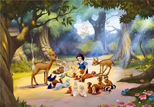 Snow White and The Seven Dwarfs Poster Photo Wallpaper - Picnic with Animals in The Woods, 4 Parts (142 x 100 inches)