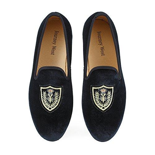 Journey West Hombres Zapatos Mocasines de Terciopelo Bordado Negro/Rojo/Azul  Negro El escudo